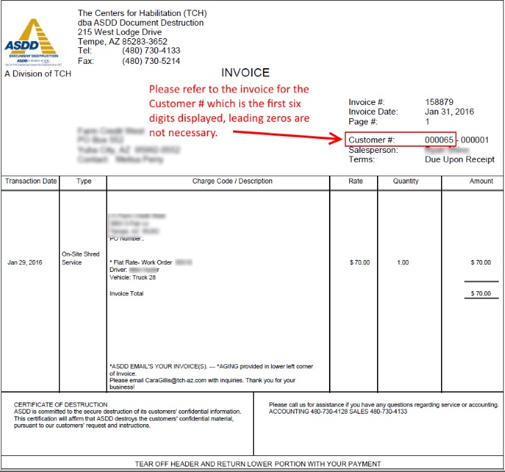 Invoice Payment Form  Asdd Document Destruction